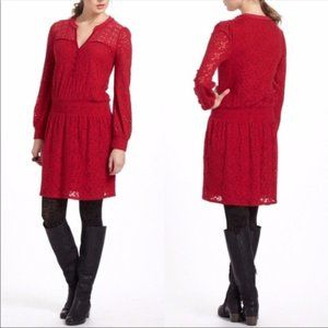 Anthropologie Leifnotes Red Lace Dress XS Field